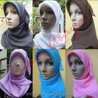 hijab square plain chiffon scarf many color islamic muslim