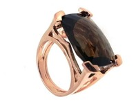 Glee Silver Italian Antique Shape Jewellery 925 silver Ring with natural stone smoky quartz