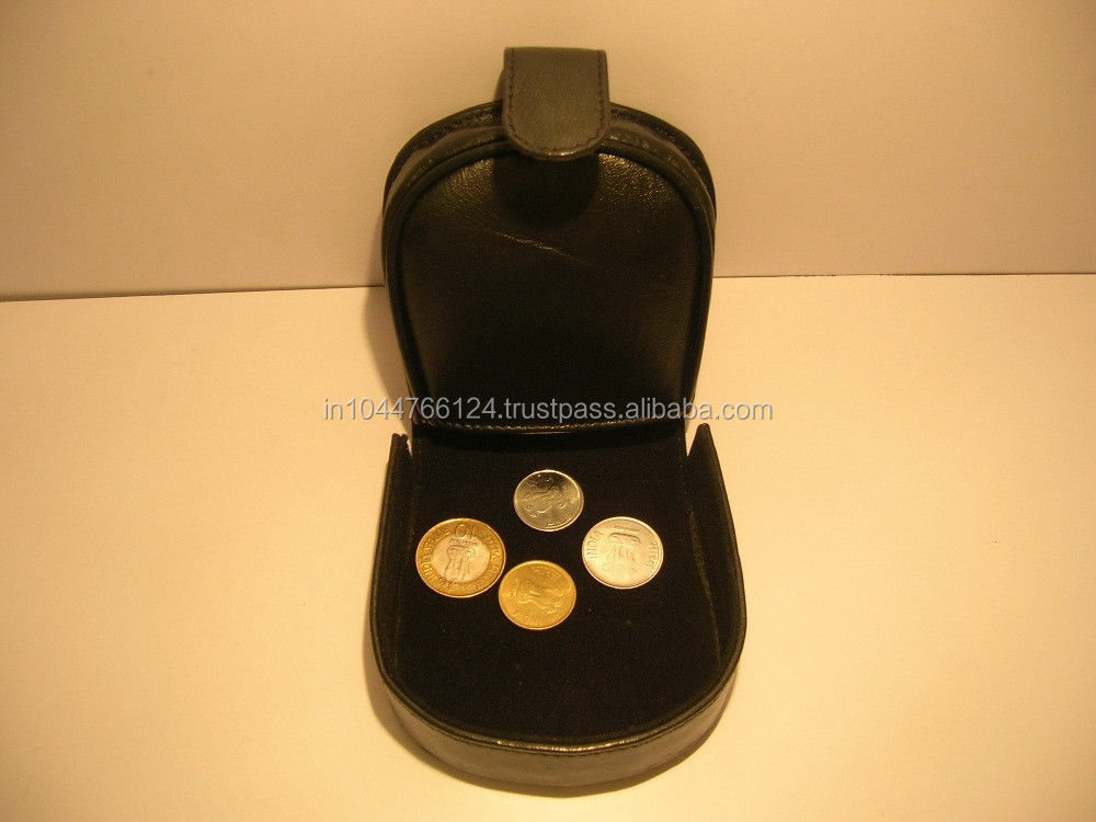 Customized Genuine Leather Coin Case / Leather Coin Case With Magnetic Lock / Coin Case With Press Button