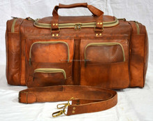 Real goat leather vintage luggage bag