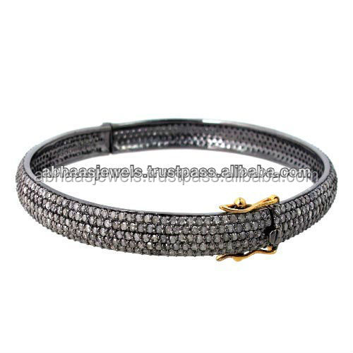 925 Solid Silver Real Pave Diamond Bangle Beautiful Design Jewlery