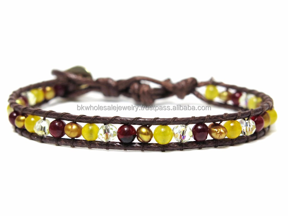 Made in Thailand Products Leather Bracelet Stone Bracelet Tiger's Eye Lime Jade Pearl Crystal Quartz Bead Bracelet Stone Jewelry