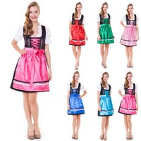 3pcs Gorgeous Blue Woman Mini Dirndl Dress Oktoberfest Drindl (dirndl dress bavarian)