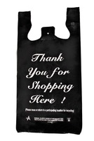 1/6 Large Size White / Black HDPE Plastic T-Shirt Bags with 1 Color Thank You for Shopping Print