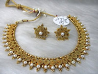 Gold plated pearl embellished necklace set for women - Wholesale Indian artificial jewelry