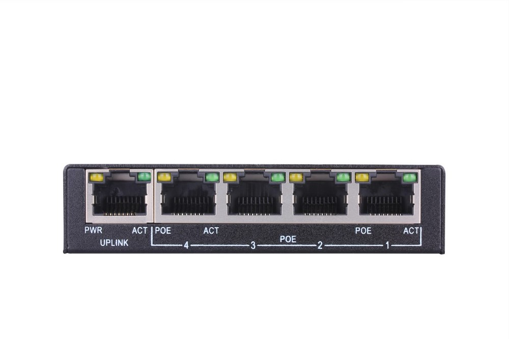 Free Sample Mini Switch PoE 10/100Mbps 4+ 1 4 Porte PoE For IP Telecamera