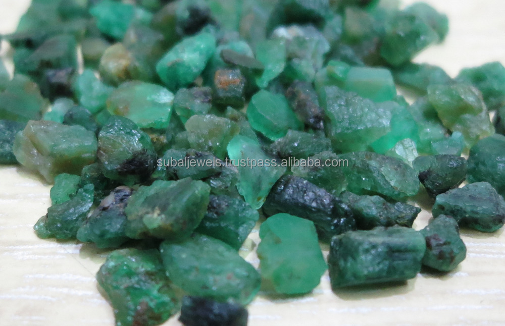 Natural Emerald Rough 4-10mm Brazil Green Non Dust