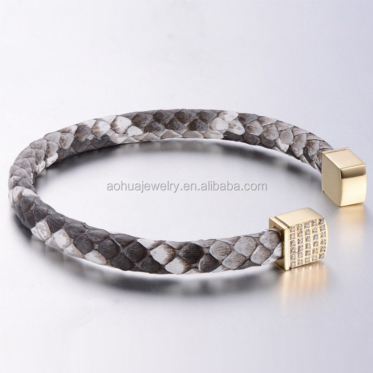2016 Fashion Jewelry Luxury Python Skin Leather Bracelet, Snake Skin Bracelet, Genuine Python Leather Bracelet