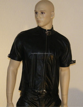 MEN LEATHER SHIRT GENUINE LAMBSKIN LEATHER POLICE MILITARY STYLE CAUSAL SHIRT FC-8328