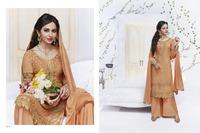Sleeves Designer Light Orange Straight-long salwar suit