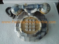 POLISHED ONYX PATCH WORK TELEPHONE SET