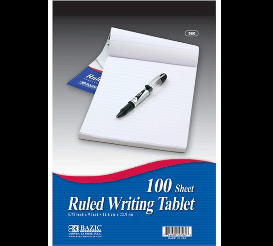 "BAZIC 100 Ct. 6"" X 9"" Ruled Writing Tablet"