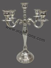Silver finish aluminum polish five arms candelabra