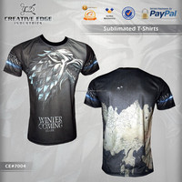 Game of Thrones (STARK) Full Sublimation T-Shirt / New Arrival Breathable Custom Tee Shirts / Customize Sublimated Men T Shirts