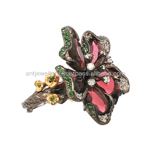 High end flower ring by 14k gold and tsavorite and diamond NDNH-307