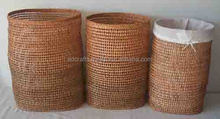 Set 3 weaving rattan laundry basket with linning inside - Handicraft products