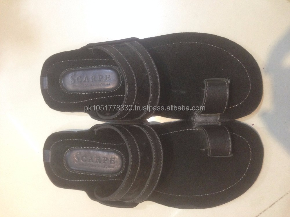 STYLISH LEATHER CHAPPAL WITH OSTRICH PLATTED DESIGN SUMMER FOR MEN'S KOLHAPURI STYLE