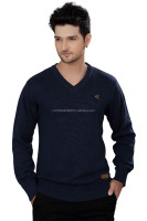 Elegance Cut Navy Blue Cotton Men's V-Neck Sweater
