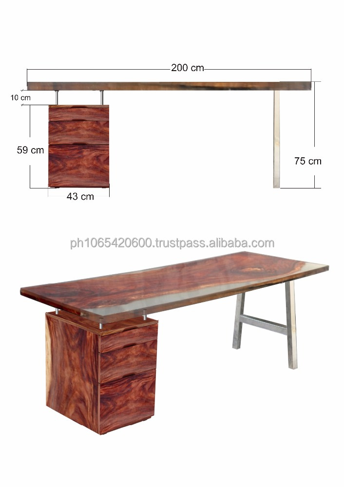 High end office desks. Clear resin with a Solid Acacia wooden slab inside