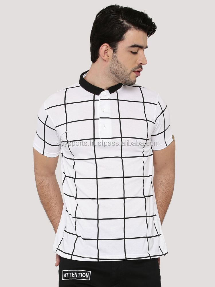 Windowpane Check Polo Shirt/ Poly/Cotton/ Half Sleeves/ Direct Printing New Youth Casual Design