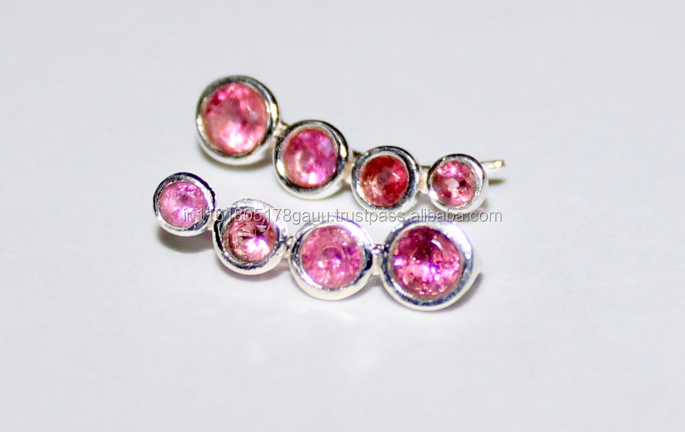 Pink Tourmaline Sterling Silver Crawlers Climbers Cuff Earrings for Women