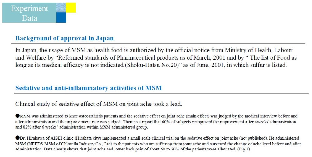 Japanese MSM ( Methyl Sulfonyl Methane ) Powder For Pain Relief of Joint and Inflammation