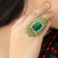 AR-3300 18k Gold Jewelry Wholesale Precious Stones Natural Emerald Diamond Ring