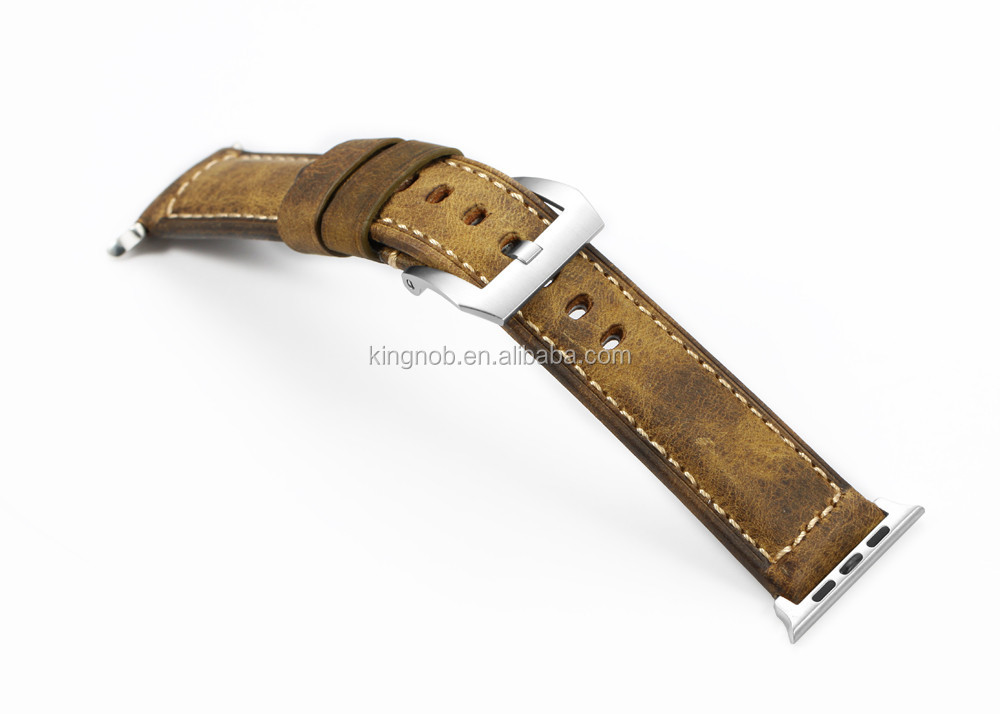 Handmade Italian Vintage Calf Leather Strap Spring Bar Adapter 42mm For Apple Sport Watch Band