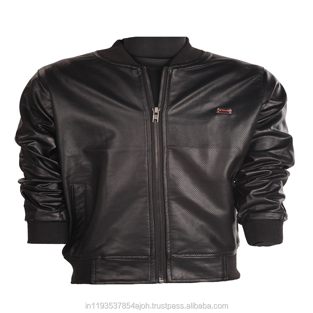 The European and American wind children's clothing leather in Black color
