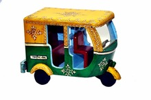 Embossed Hand painted Wooden Handicraft Auto Rickshaw Toy for Home Decor