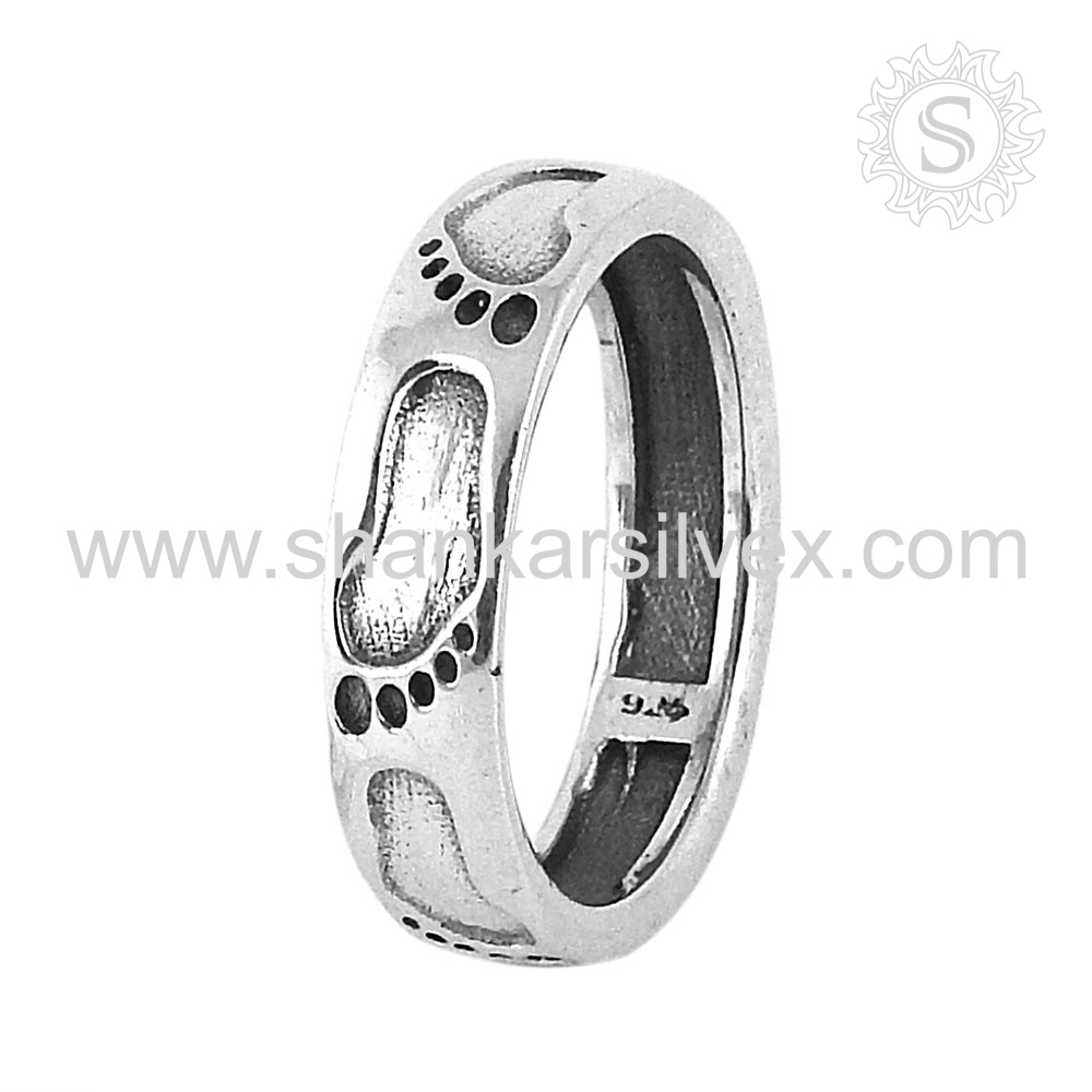 Engraved Feet 925 Silver Jewelry Ring Manufacture Handmade Silver Jewelry Online Silver Ring