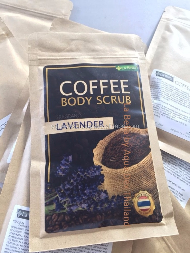LAVENDER COFFEE BODY SCRUB La Bella ANTI-CELLULITE Coffee Scrub Packaging Bag Resealable Kraft Paper Pouch Foil Lined Doypack