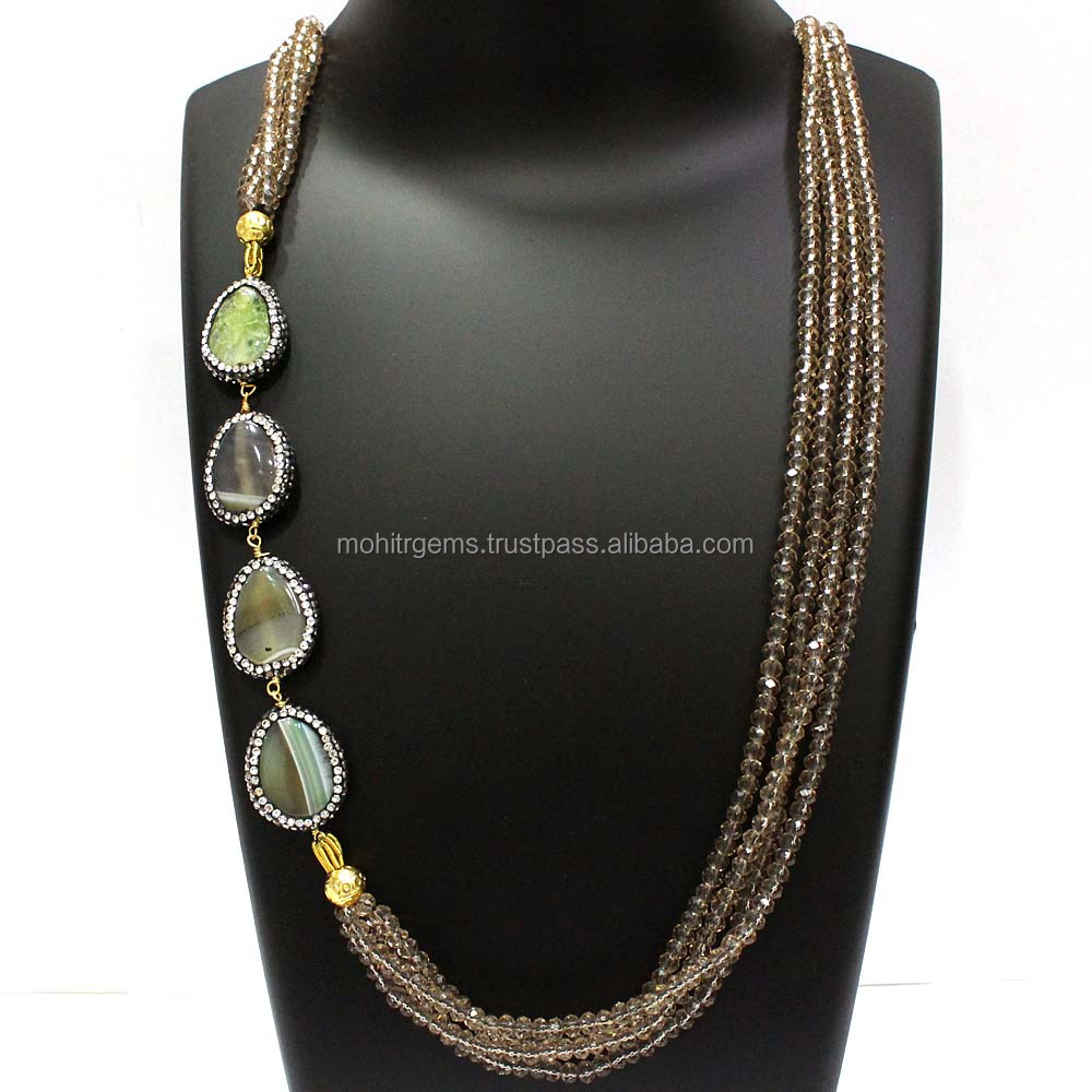 Long Endless Agate Pear Turkish Work Stone With Smoky Quartz Beads Beaded Necklace