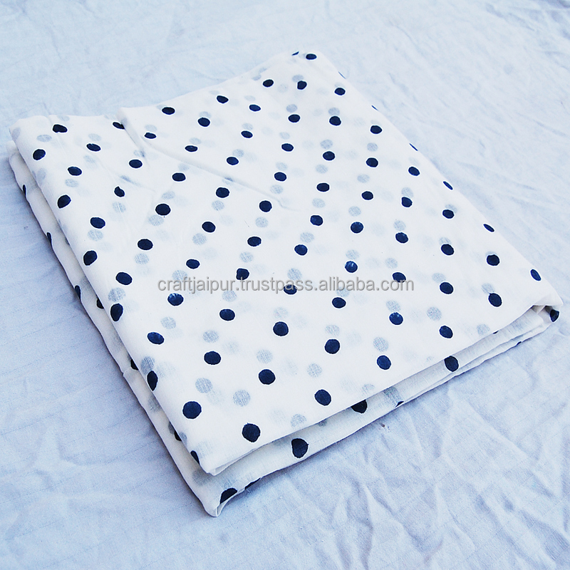 Indigo Blue White Polka Dot Indian Hand Print Cotton Fabric Block Stamp Cotton Multi Purpose Natural Voile Jaipur Fabric CJACF-7