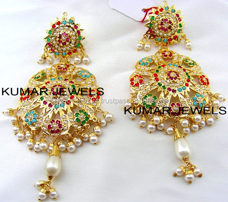 Mughal Navratan earrings