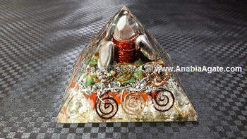 Big Ruby Chips And Big Crystal Point Orgone Pyramid | Orgone Energy Product