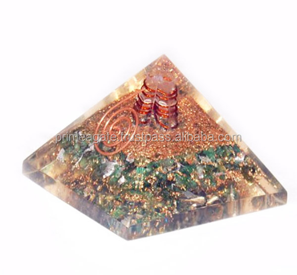 green Jade Orgone Pyramid With Reiki Symbol : Wholesale Orgonite Pyramids