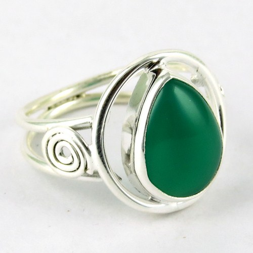 Today New Product Listing !! 2016 Fashion 925 Sterling Silver Jewellery Green Onyx Ring, Gorgeous Indian Design