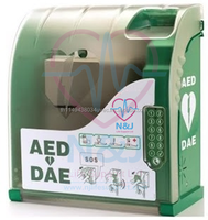 Smart AED wall cabinet with locked + integrated emergency phone call (land line)