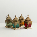 Moroccan Candle Lantern With Different Colour Glasses