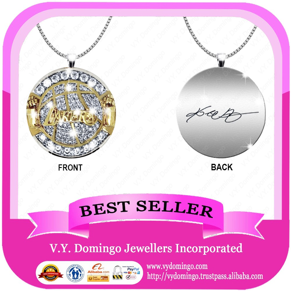 Custom made Luxurious with cz laser logo championship pendant name charm