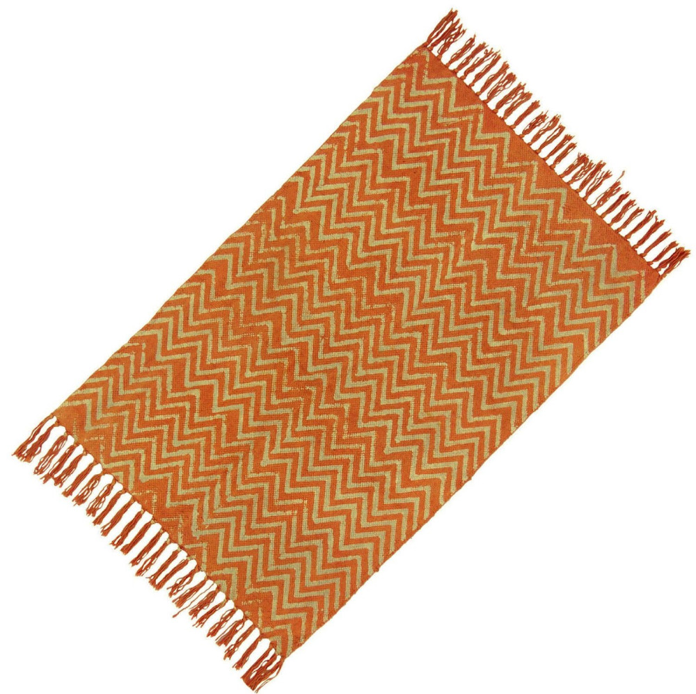 "Zig Zag Pattern Woven Dari Cotton Jute Carpet Hand Woven Floor Runner Rug 37"" x 23"" Inches RUG1862A"