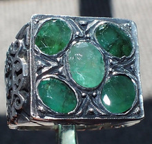 Emerald Sterling Silver Ring Unique handcrafted mens gemstone jewelry Zamrud