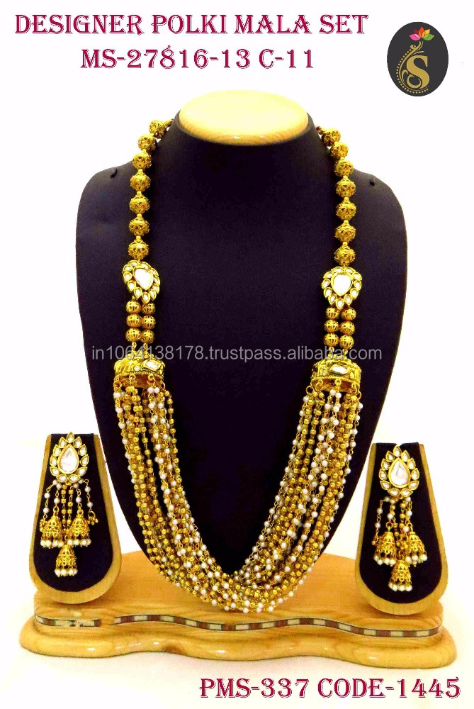 Gold Plated Meena work Kundan Mala with Earrings for wholesale in imitation jewellery