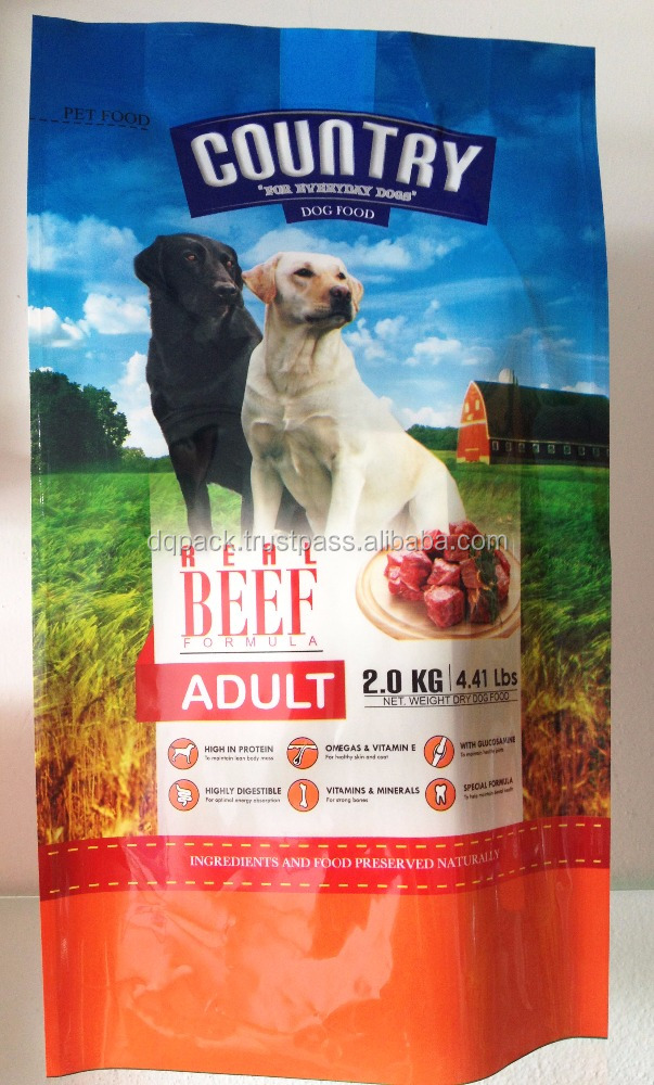 Pet food custom printed packaging bag, dry dog food 4 side seal pet food plastic bag, high quality dog pet food packaging bag