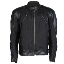Mens Black Textile & Leather Motorcycle / Motorbike Jacket With Protection FC-10748