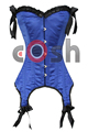 Manufacturer And Wholesale Supplier of 26 Double Steel Boned Waist Training Blue Satin Overbust Corset