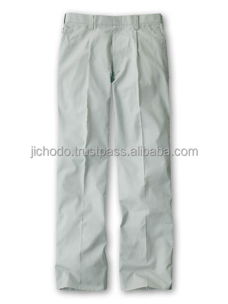 T/C shadow stripe / Single pleated pants. Made by Japan
