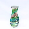 Murano Glass Sbruffi Vase Mirrored Green