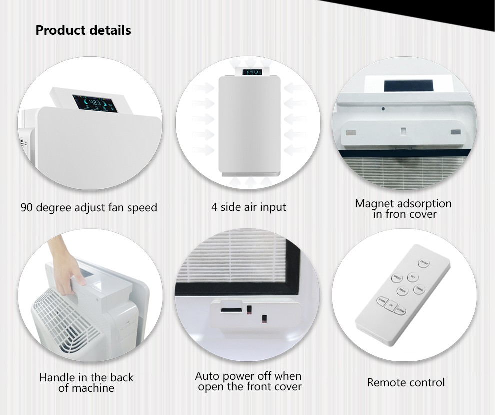 pm2.5 Wifi air purifier with negative ion 500mg/h ozone sterilizer